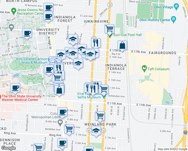 map of restaurants, bars, coffee shops, grocery stores, and more near 1712 Summit Street in Columbus