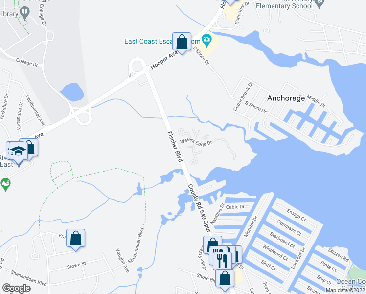 map of restaurants, bars, coffee shops, grocery stores, and more near 1517 Waters Edge Drive in Toms River