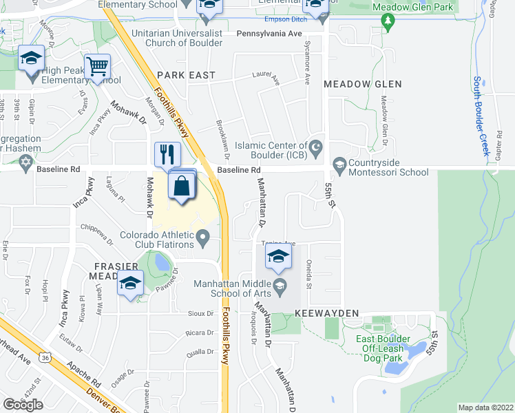 map of restaurants, bars, coffee shops, grocery stores, and more near 565 Manhattan Drive in Boulder