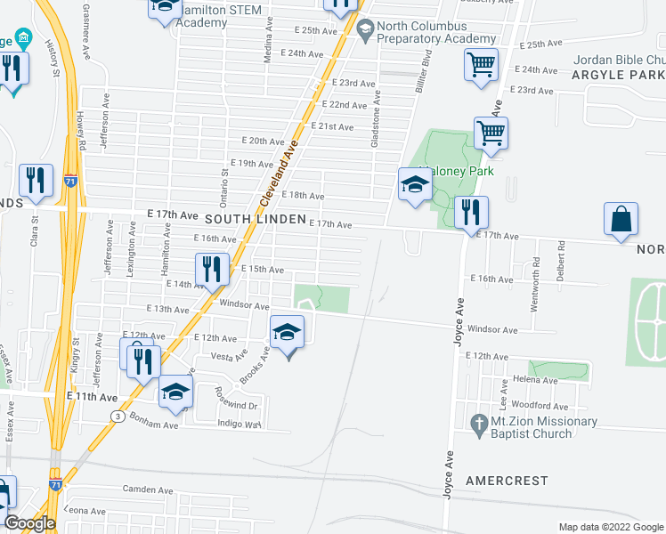 map of restaurants, bars, coffee shops, grocery stores, and more near 1312 E 15th Ave in Columbus
