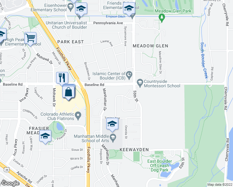 map of restaurants, bars, coffee shops, grocery stores, and more near 5303 Aztec Drive in Boulder