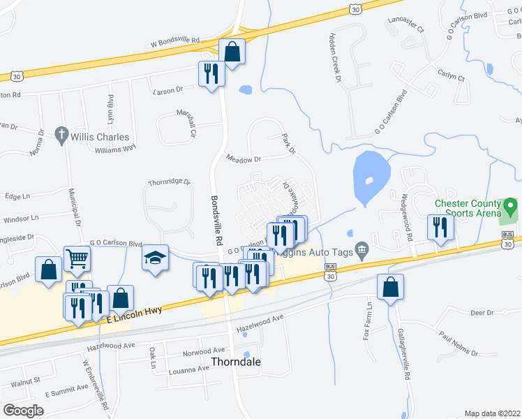 map of restaurants, bars, coffee shops, grocery stores, and more near 500 Meadowlake Drive in Downingtown