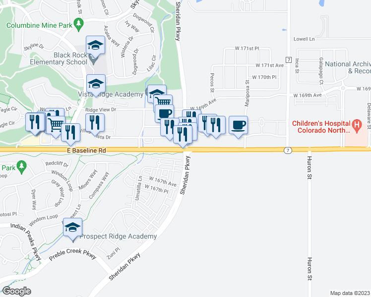 Sheridan Colorado Map.East Baseline Road Sheridan Parkway Broomfield Co Walk Score
