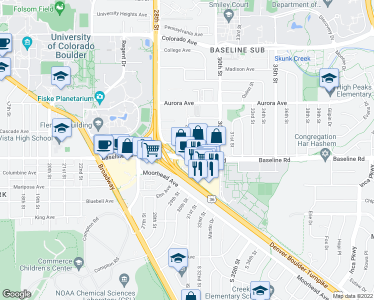map of restaurants, bars, coffee shops, grocery stores, and more near 2877 Baseline Road in Boulder