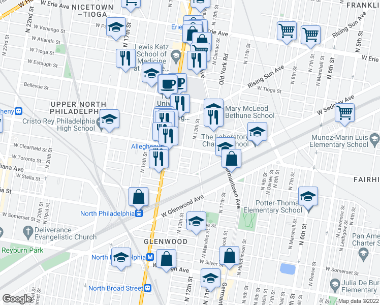 map of restaurants, bars, coffee shops, grocery stores, and more near 1319 West Lippincott Street in Philadelphia