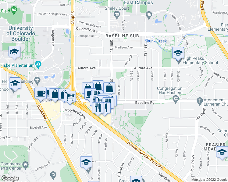 map of restaurants, bars, coffee shops, grocery stores, and more near 740 30th Street in Boulder