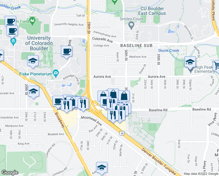 map of restaurants, bars, coffee shops, grocery stores, and more near 2950 Bixby Lane in Boulder