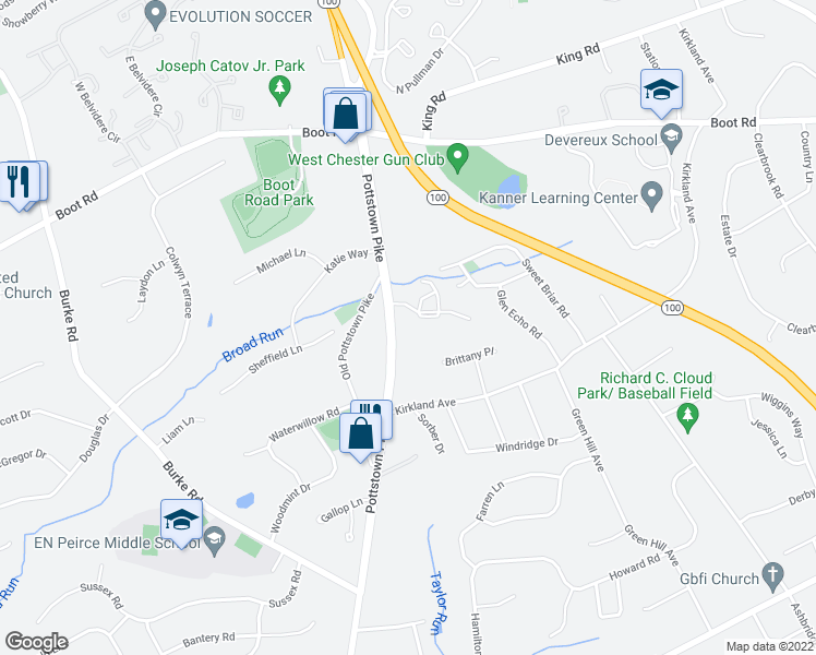 map of restaurants, bars, coffee shops, grocery stores, and more near 1353 Pottstown Pike in West Chester