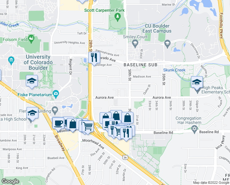 map of restaurants, bars, coffee shops, grocery stores, and more near 2918-2928 Aurora Avenue in Boulder