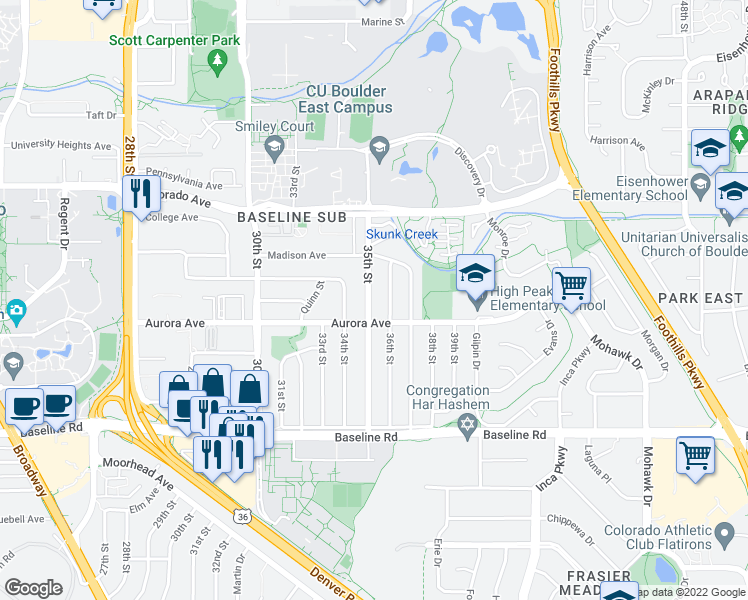 map of restaurants, bars, coffee shops, grocery stores, and more near 930 35th Street in Boulder