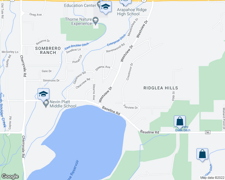 map of restaurants, bars, coffee shops, grocery stores, and more near 950 Westview Drive in Boulder