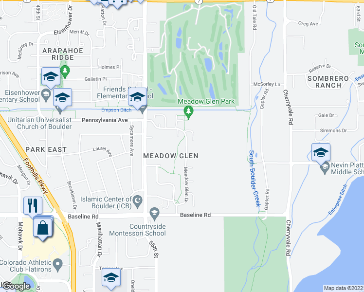 map of restaurants, bars, coffee shops, grocery stores, and more near 989 Meadow Glen Drive in Boulder