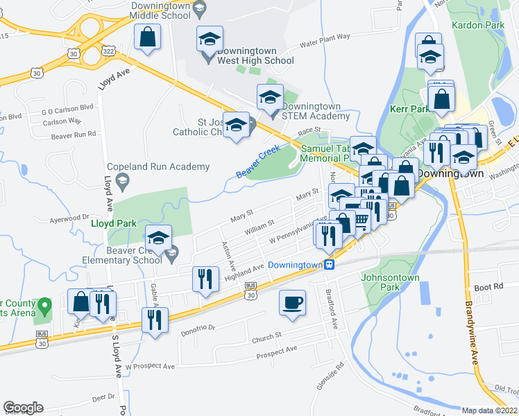 map of restaurants, bars, coffee shops, grocery stores, and more near Mary Street in Downingtown