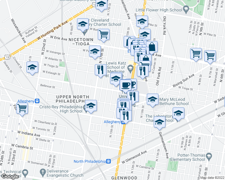 map of restaurants, bars, coffee shops, grocery stores, and more near W Ontario St & N Sydenham St in Philadelphia