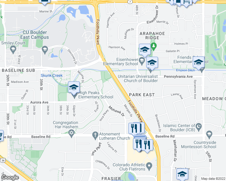 map of restaurants, bars, coffee shops, grocery stores, and more near 895 Morgan Drive in Boulder