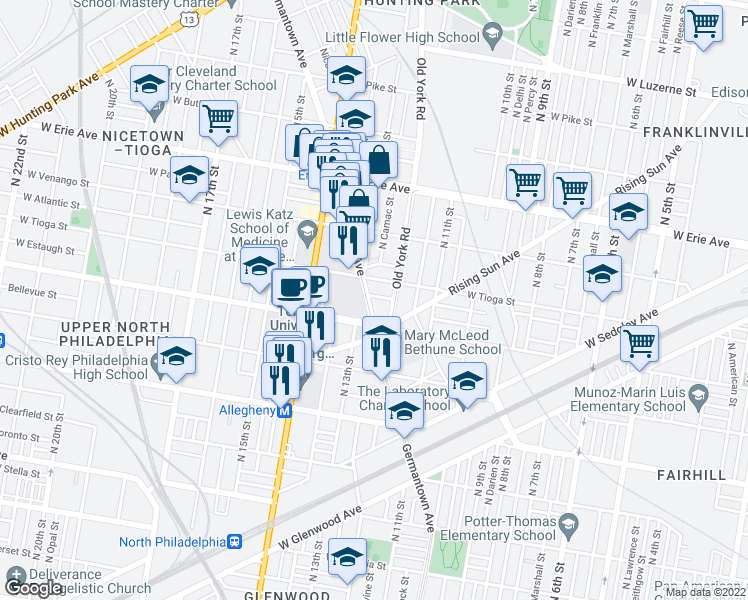map of restaurants, bars, coffee shops, grocery stores, and more near 3427 Germantown Ave in Philadelphia
