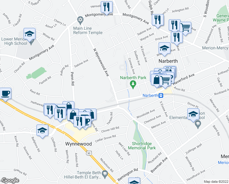 map of restaurants, bars, coffee shops, grocery stores, and more near 200 North Wynnewood Avenue in Wynnewood