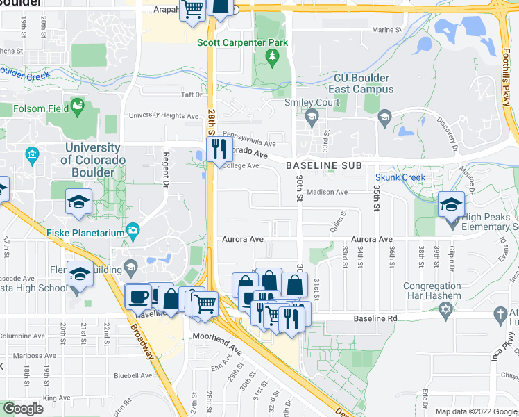 map of restaurants, bars, coffee shops, grocery stores, and more near 1010 B Adams Circle in Boulder