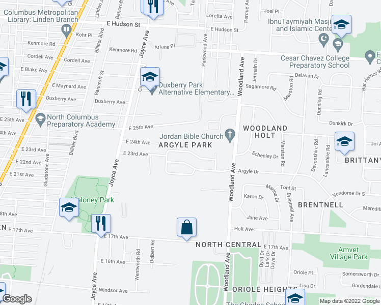 map of restaurants, bars, coffee shops, grocery stores, and more near Enderly Dr in Columbus