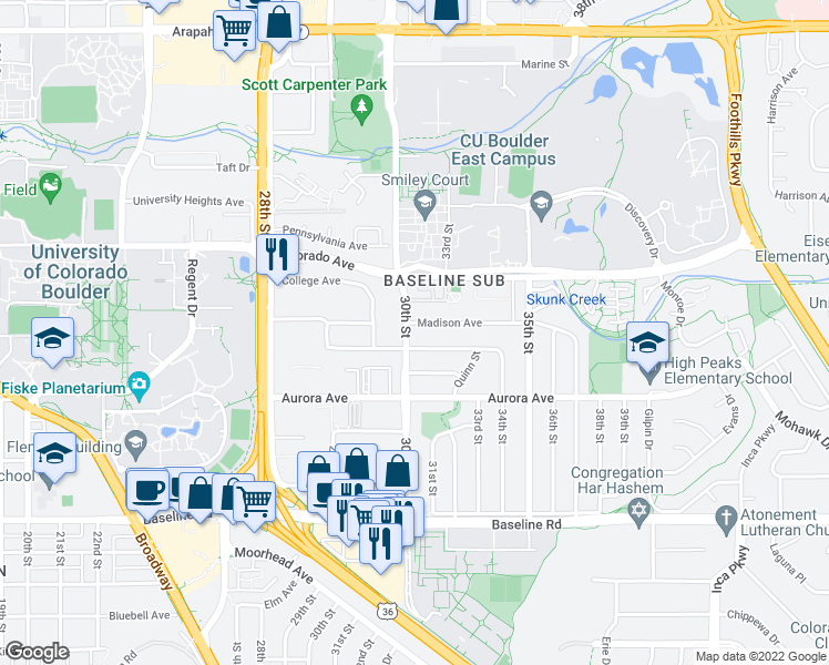 map of restaurants, bars, coffee shops, grocery stores, and more near 1090 30th Street in Boulder