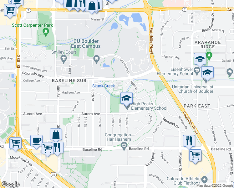 map of restaurants, bars, coffee shops, grocery stores, and more near 3820 Colorado Avenue in Boulder