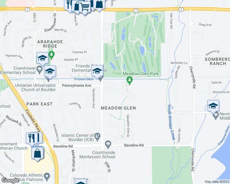 map of restaurants, bars, coffee shops, grocery stores, and more near 5588 Pennsylvania Avenue in Boulder