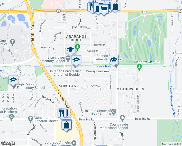map of restaurants, bars, coffee shops, grocery stores, and more near 5302 Pennsylvania Avenue in Boulder