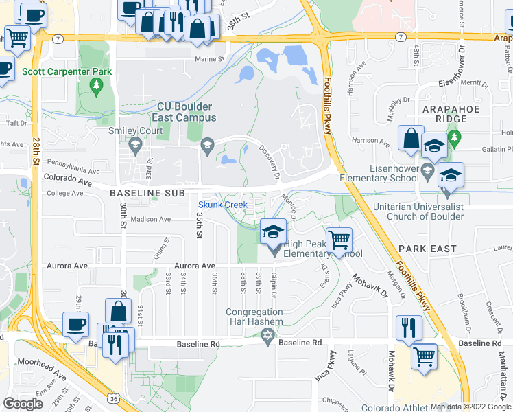 map of restaurants, bars, coffee shops, grocery stores, and more near 3950 Colorado Avenue in Boulder