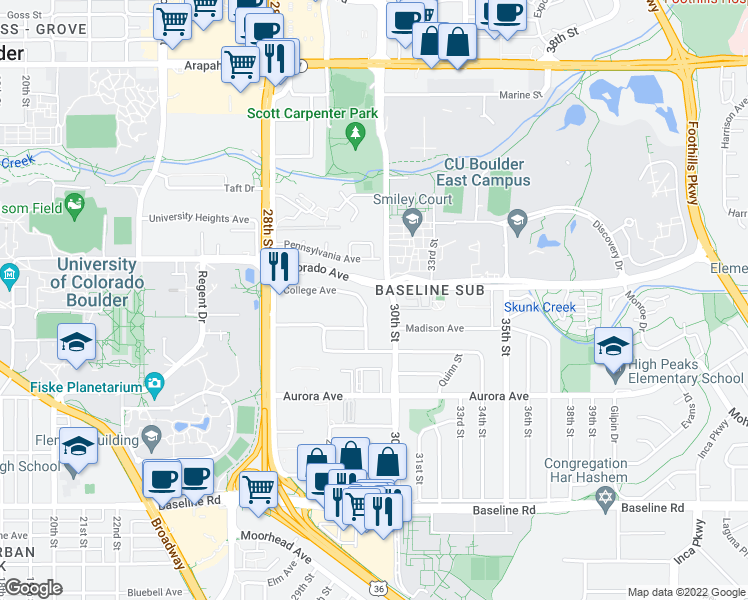 map of restaurants, bars, coffee shops, grocery stores, and more near 1121 30th Street in Boulder