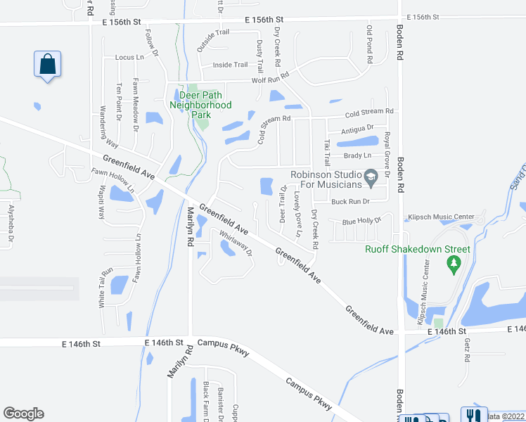map of restaurants, bars, coffee shops, grocery stores, and more near 12353 Deerview Drive in Noblesville