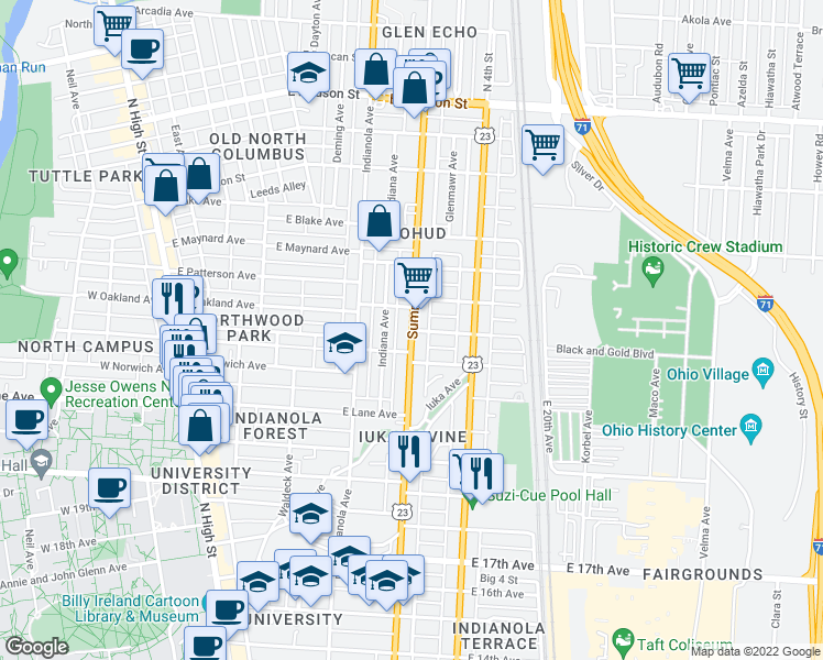 map of restaurants, bars, coffee shops, grocery stores, and more near Summit St &am