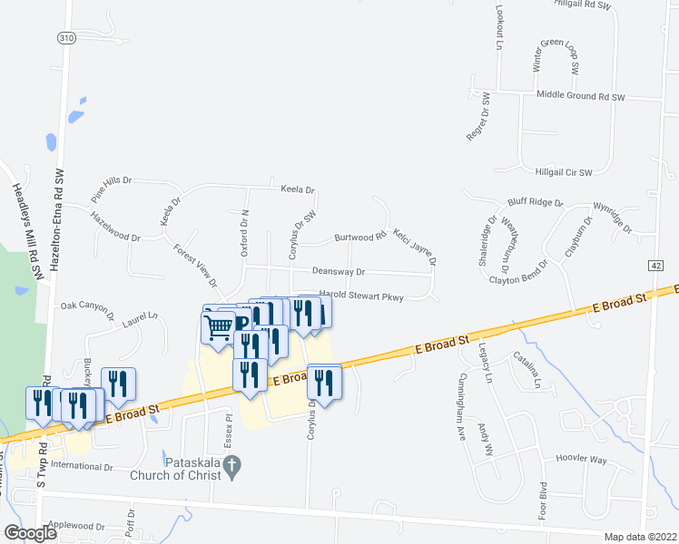 map of restaurants, bars, coffee shops, grocery stores, and more near Deansway Drive in Pataskala