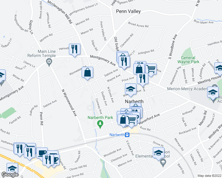 map of restaurants, bars, coffee shops, grocery stores, and more near in Narberth