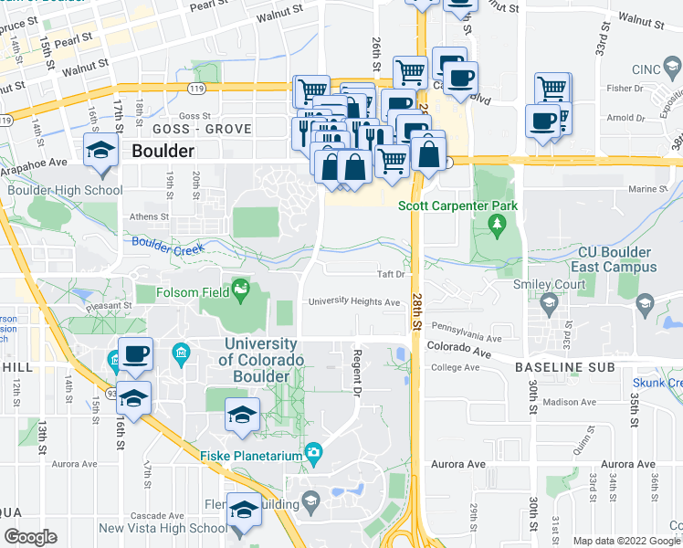 map of restaurants, bars, coffee shops, grocery stores, and more near 2525 Taft Drive in Boulder