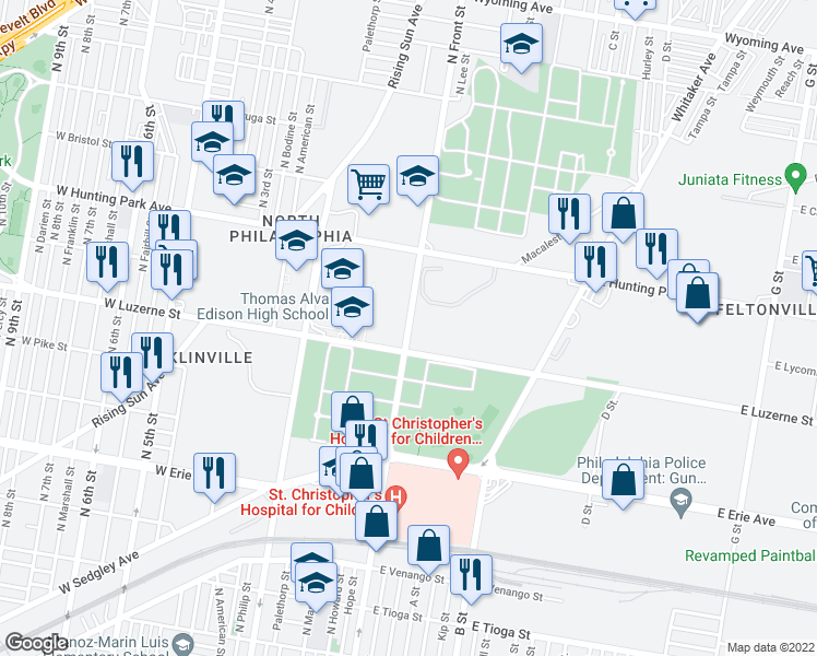 map of restaurants, bars, coffee shops, grocery stores, and more near 101 East Luzerne Street in Philadelphia