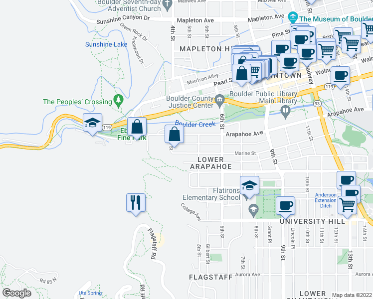 map of restaurants, bars, coffee shops, grocery stores, and more near 1636 4th Street in Boulder
