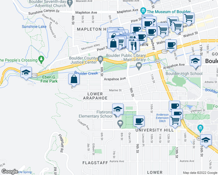 map of restaurants, bars, coffee shops, grocery stores, and more near 635-637 Marine Street in Boulder