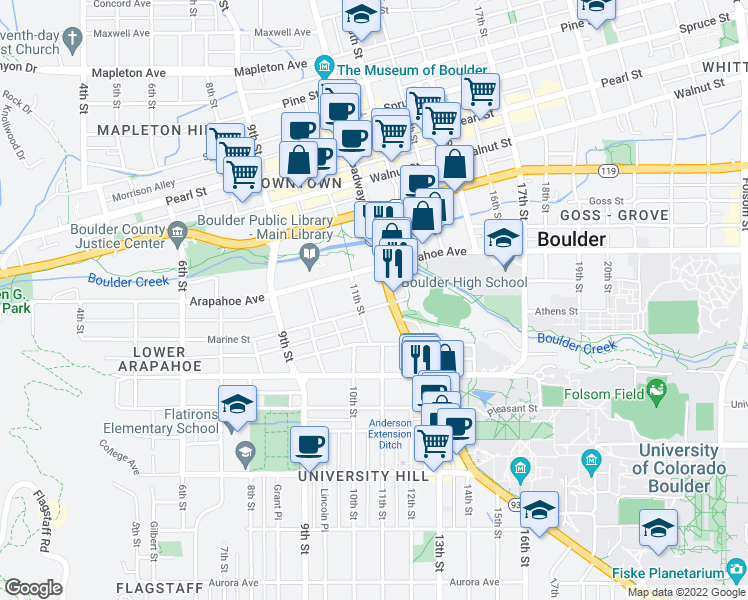 map of restaurants, bars, coffee shops, grocery stores, and more near 1155 Marine Street in Boulder