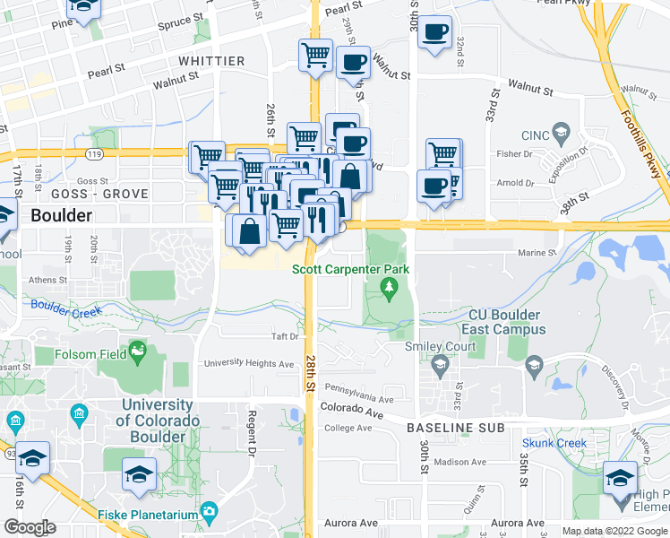 map of restaurants, bars, coffee shops, grocery stores, and more near 2803 Olson Drive in Boulder