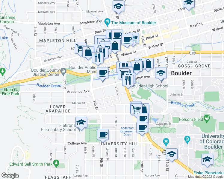 map of restaurants, bars, coffee shops, grocery stores, and more near 1025 Marine Street in Boulder