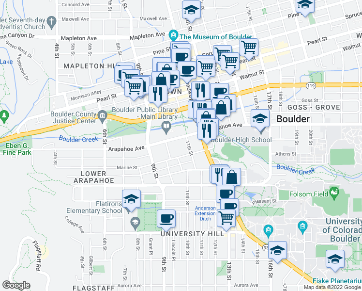 map of restaurants, bars, coffee shops, grocery stores, and more near 1005-1071 Marine Street in Boulder