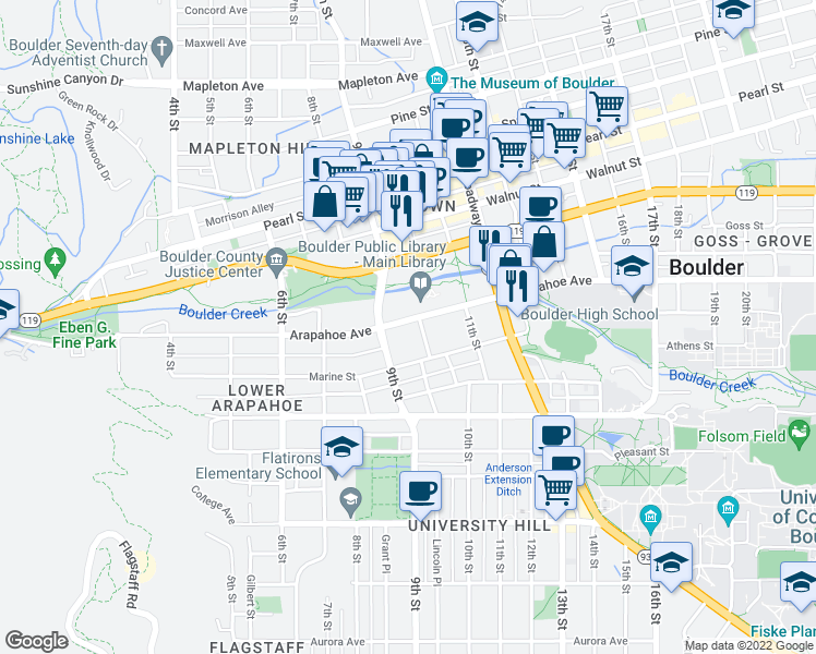 map of restaurants, bars, coffee shops, grocery stores, and more near 944 Arapahoe Avenue in Boulder