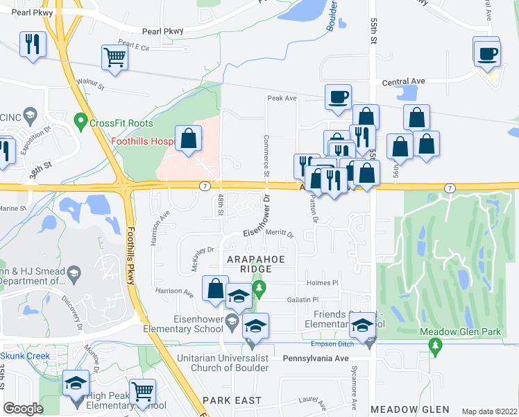 map of restaurants, bars, coffee shops, grocery stores, and more near 4970 Meredith Way in Boulder