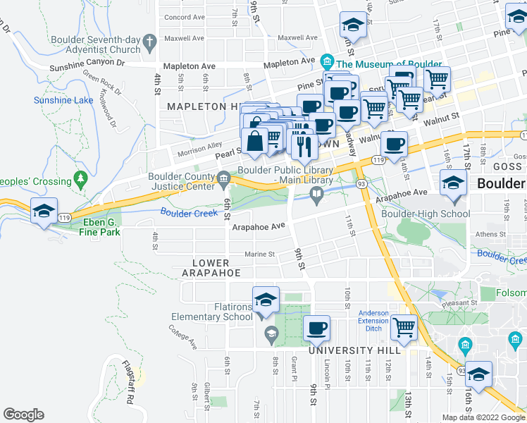 map of restaurants, bars, coffee shops, grocery stores, and more near 715 Arapahoe Avenue in Boulder