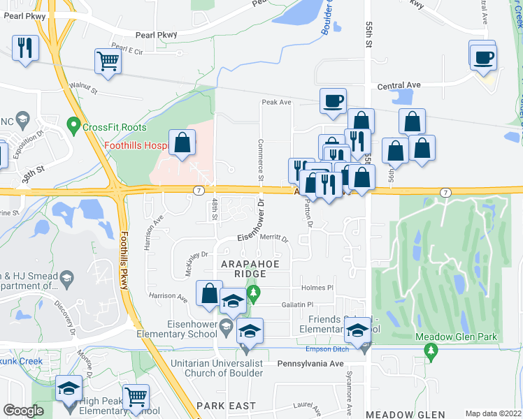 map of restaurants, bars, coffee shops, grocery stores, and more near 4930 Meredith Way in Boulder