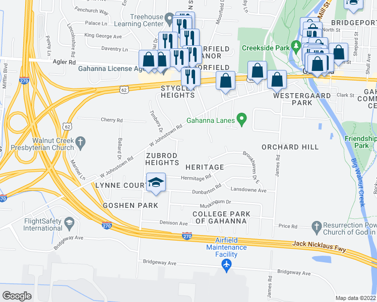 map of restaurants, bars, coffee shops, grocery stores, and more near 329 West Johnstown Road in Gahanna