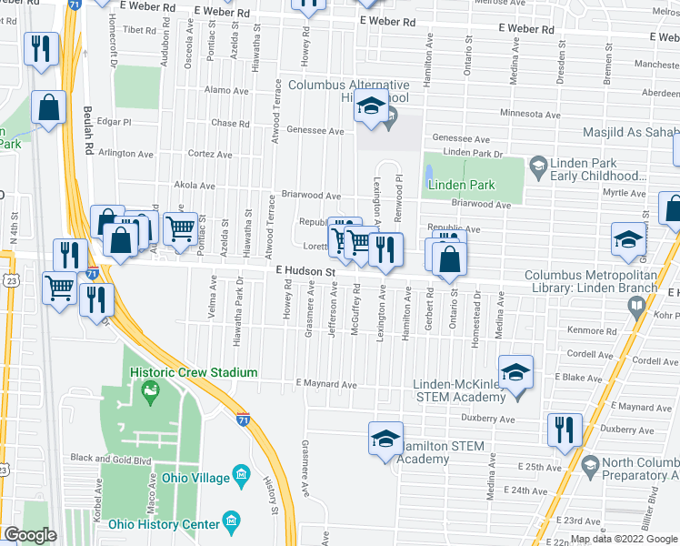map of restaurants, bars, coffee shops, grocery stores, and more near East Hudson Street in Columbus