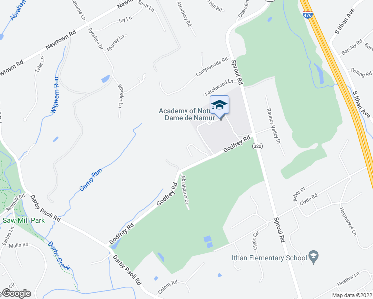 map of restaurants, bars, coffee shops, grocery stores, and more near 770 Godfrey Road in Villanova