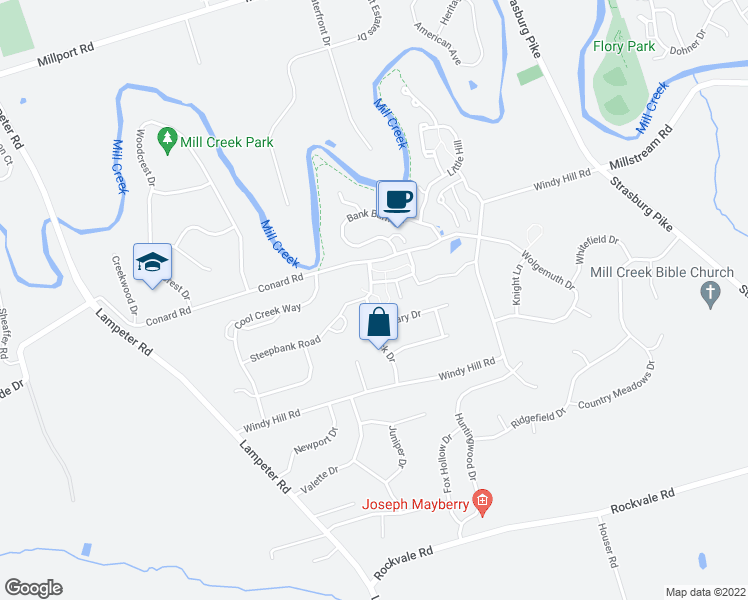 map of restaurants, bars, coffee shops, grocery stores, and more near 211 Nordick Drive in Lancaster