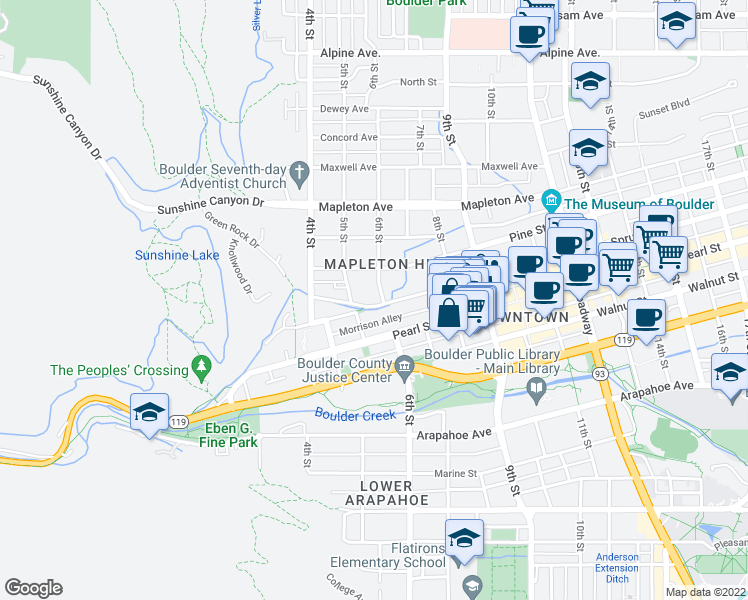 map of restaurants, bars, coffee shops, grocery stores, and more near 510 Bow Mountain Road in Boulder